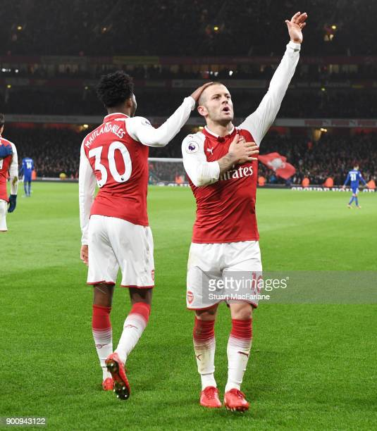 Jack Wilshere celebrates scoring for Arsenal during the Premier League match between Arsenal and Chelsea at Emirates Stadium on January 3 2018 in...