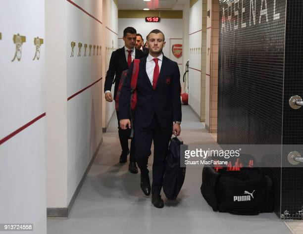 Jack Wilshere in the Arsenal changing room before the Premier League match between Arsenal and Everton at Emirates Stadium on February 3 2018 in...