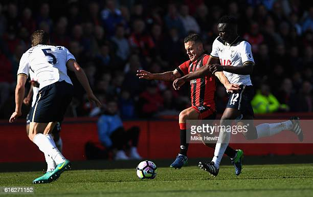 Jack Wilshere of AFC Bournemouth and Victor Wanyama of Tottenham Hotspur compete for the ball during the Premier League match between AFC Bournemouth...
