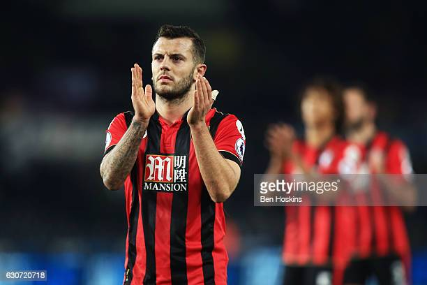 Jack Wilshere of AFC Bournemouth applauds supporters after the Premier League match between Swansea City and AFC Bournemouth at Liberty Stadium on...
