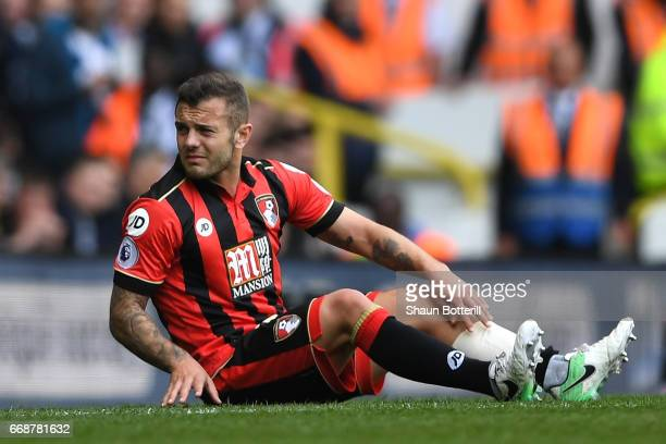 Jack Wilshere of AFC Bournemouth goes down injured during the Premier League match between Tottenham Hotspur and AFC Bournemouth at White Hart Lane...