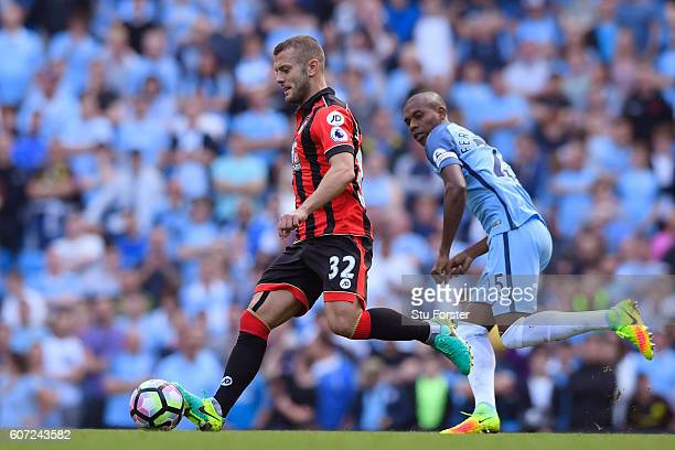 Jack Wilshere of AFC Bournemouth in action during the Premier League match between Manchester City and AFC Bournemouth at the Etihad Stadium on...