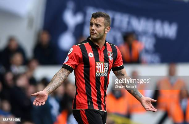 Jack Wilshere of AFC Bournemouth reacts during the Premier League match between Tottenham Hotspur and AFC Bournemouth at White Hart Lane on April 15,...