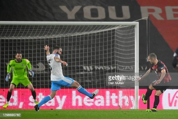 Jack Wilshere of AFC Bournemouth scores their team's first goal during The Emirates FA Cup Fourth Round match between AFC Bournemouth and Crawley...