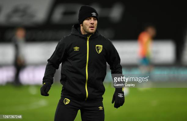 Jack Wilshere of AFC Bournemouth warms up prior to the Sky Bet Championship match between Derby County and AFC Bournemouth at Pride Park Stadium on...