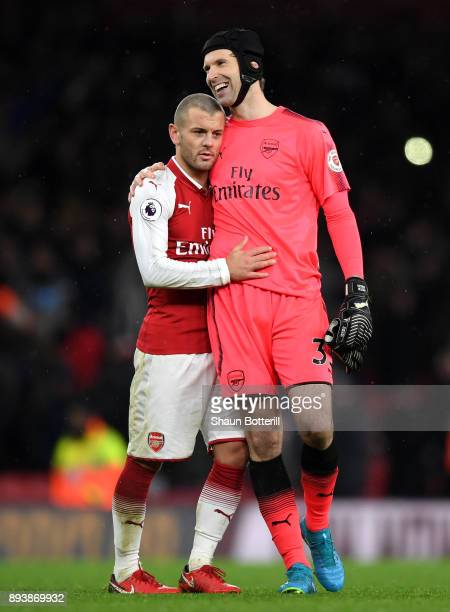 Jack Wilshere of Arsenal and Petr Cech of Arsenal celebrate victory after the Premier League match between Arsenal and Newcastle United at Emirates...