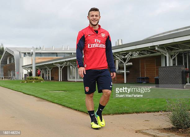 Jack Wilshere of Arsenal before the Arsenal Training Session at London Colney on October 5, 2013 in St Albans, England.