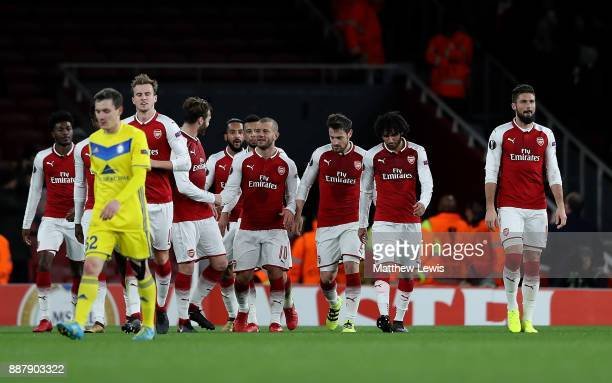 Jack Wilshere of Arsenal celebrates with team mates after scoring his team's second goal of the game during the UEFA Europa League group H match...