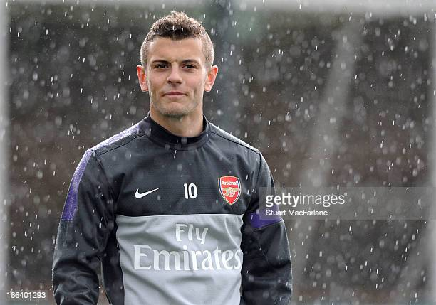 Jack Wilshere of Arsenal during a training session at London Colney on April 12, 2013 in St Albans, England.