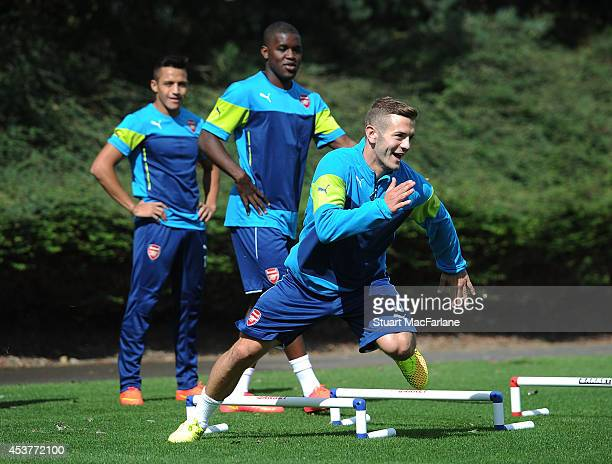 Jack Wilshere of Arsenal during a training session at London Colney on August 18, 2014 in St Albans, England.