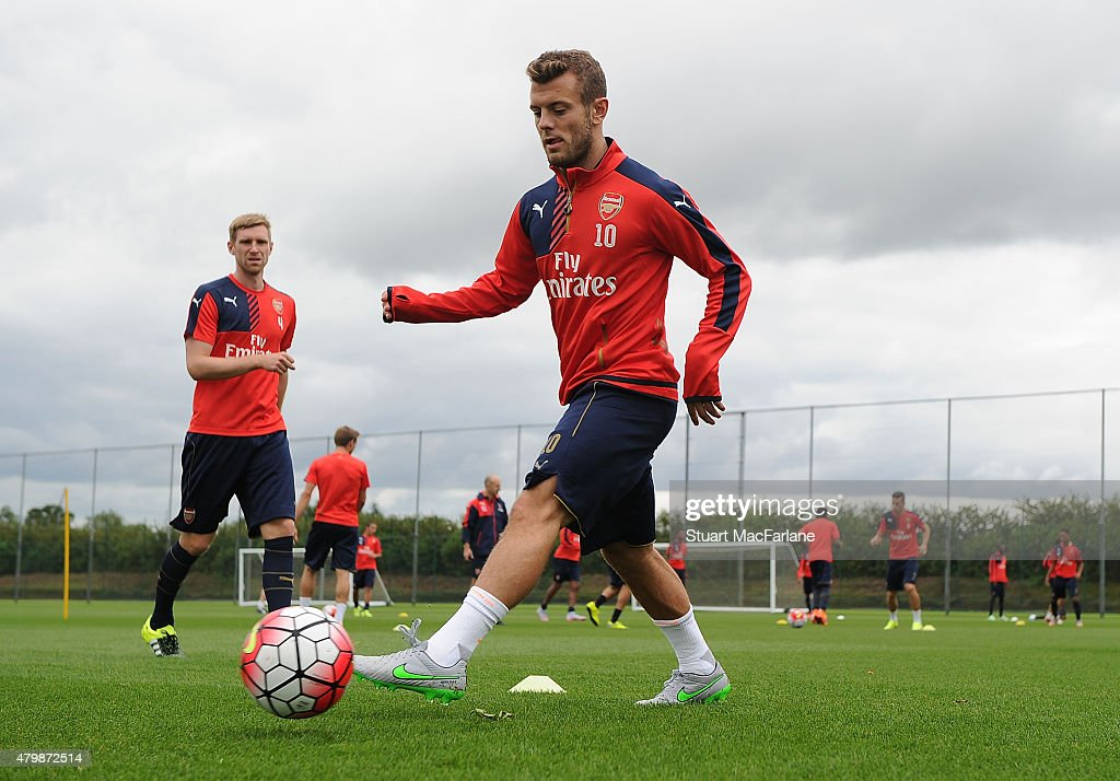 Jack Wilshere of Arsenal during a training session at London Colney on July 8, 2015 in St Albans, England.