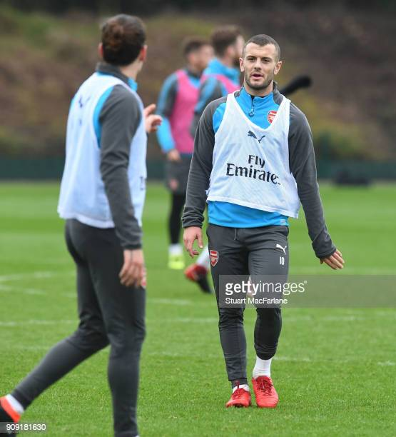 Jack Wilshere of Arsenal during a training session at London Colney on January 23 2018 in St Albans England