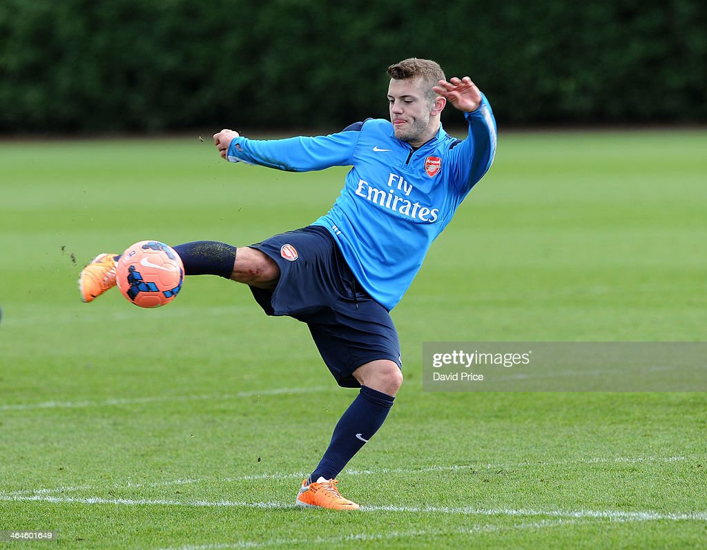 Jack Wilshere of Arsenal during Arsenal Training Session at London Colney on January 23, 2014 in St Albans, England.