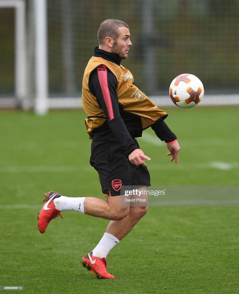 Jack Wilshere of Arsenal during the Arsenal training session, on the eve of the UEFA Europa League group H match against BATE Borisov, at London Colney on December 6, 2017 in St Albans, England.