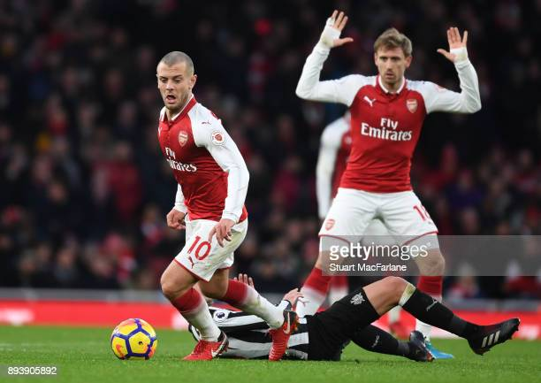 Jack Wilshere of Arsenal during the Premier League match between Arsenal and Newcastle United at Emirates Stadium on December 16 2017 in London...