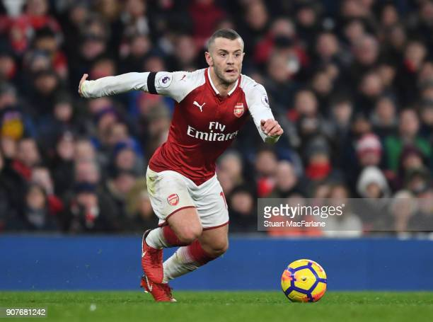 Jack Wilshere of Arsenal during the Premier League match between Arsenal and Crystal Palace at Emirates Stadium on January 20 2018 in London England