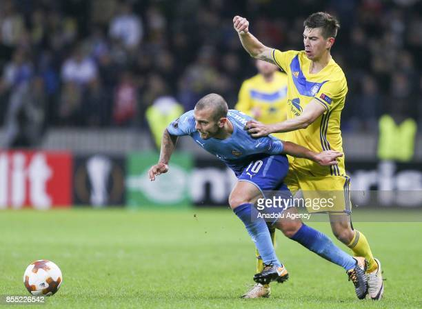 Jack Wilshere of Arsenal FC in action against Aleksei Rios of BATE Borisov during the UEFA Europa League group H match between BATE Borisov and...