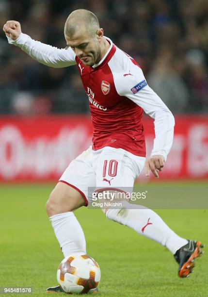 Jack Wilshere of Arsenal FC in action during the UEFA Europa League quarter final leg two match between PFC CSKA Moskva and Arsenal FC at CSKA Arena...