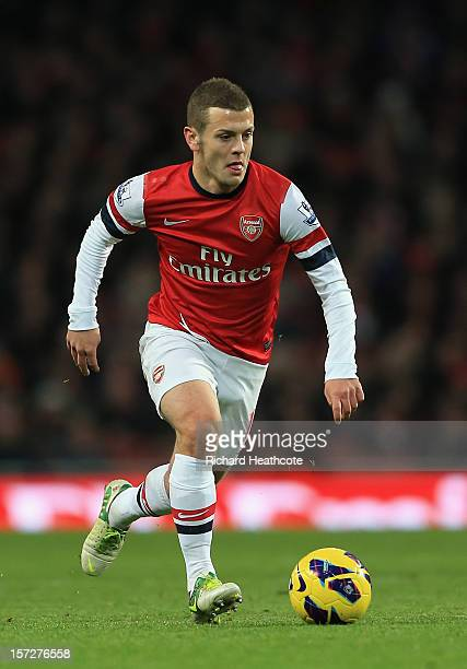 Jack Wilshere of Arsenal in action during the Barclays Premier League match between Arsenal and Swansea City at the Emirates Stadium on December 1...
