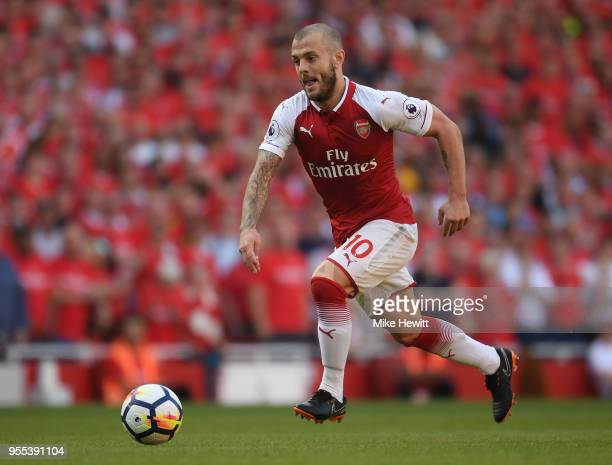 Jack Wilshere of Arsenal in action during the Premier League match between Arsenal and Burnley at Emirates Stadium on May 6 2018 in London England