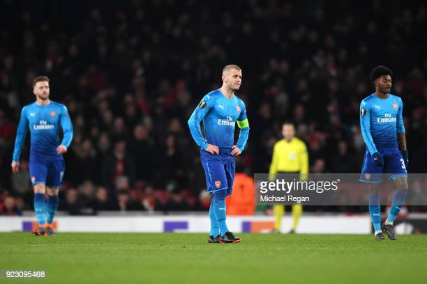 Jack Wilshere of Arsenal looks dejected after Hosam Aiesh of Ostersunds FK scored the first Ostersunds goal during UEFA Europa League Round of 32...