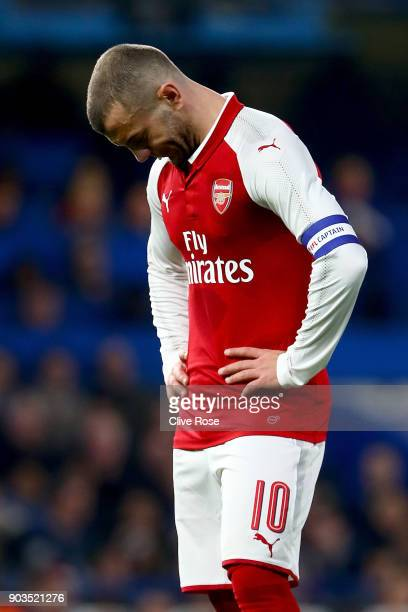 Jack Wilshere of Arsenal looks on dejected during the Carabao Cup SemiFinal First Leg match between Chelsea and Arsenal at Stamford Bridge on January...