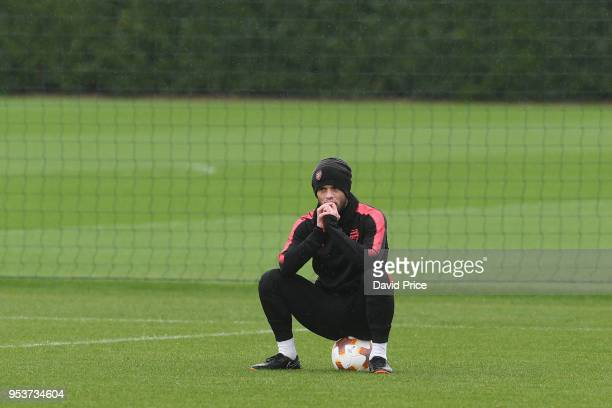 Jack Wilshere of Arsenal looks on during the Arsenal Training Session at London Colney on May 2 2018 in St Albans England