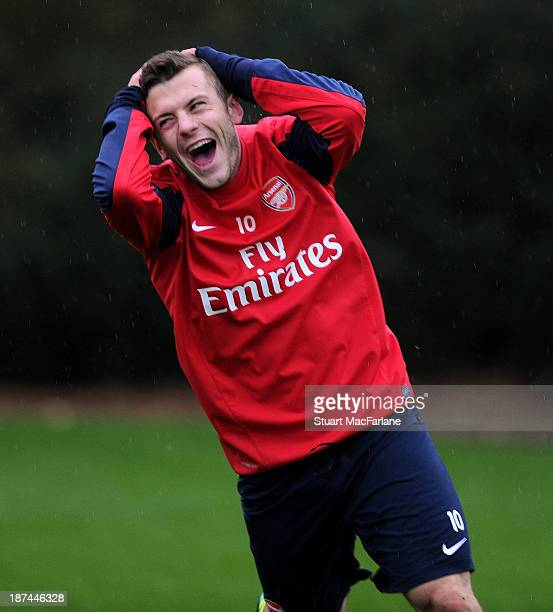 Jack Wilshere of Arsenal reacts during the Arsenal Training Session at London Colney on November 9, 2013 in St Albans, England.