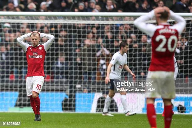 Jack Wilshere of Arsenal reacts during the Premier League match between Tottenham Hotspur and Arsenal at Wembley Stadium on February 10 2018 in...