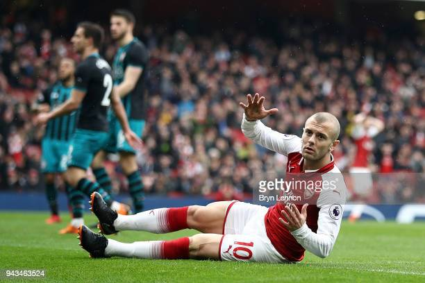 Jack Wilshere of Arsenal reacts to a missed goal during the Premier League match between Arsenal and Southampton at Emirates Stadium on April 8 2018...