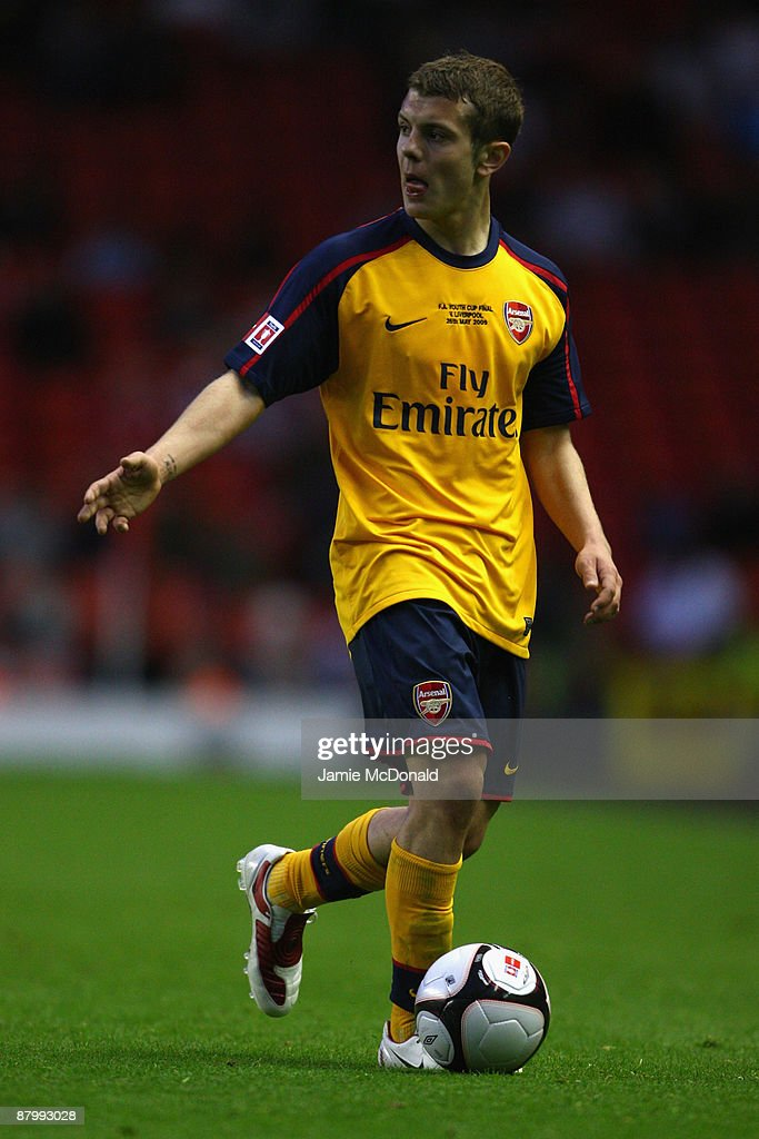 Jack Wilshere of Arsenal runs with the ball during the second leg of the FA Youth Cup final sponsored by E.ON, between Liverpool and Arsenal at Anfield on May 26, 2009 in Liverpool, England.