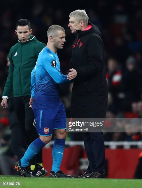 Jack Wilshere of Arsenal with Arsene Wenger manager / head coach of Arsenal during UEFA Europa League Round of 32 match between Arsenal and...