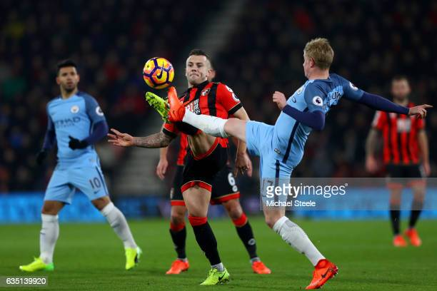 Jack Wilshere of Bournemouth battles for the ball with Kevin De Bruyne of Manchester City during the Premier League match between AFC Bournemouth and...