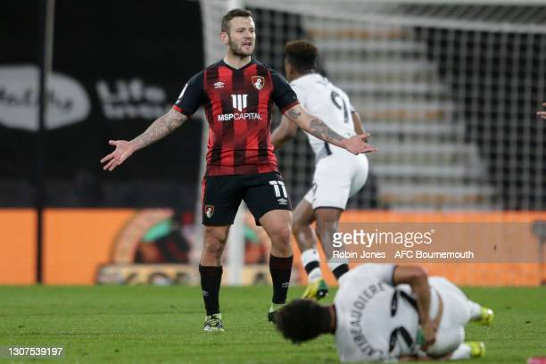 Jack Wilshere of Bournemouth during the Sky Bet Championship match between AFC Bournemouth and Swansea City at Vitality Stadium on March 16, 2021 in...