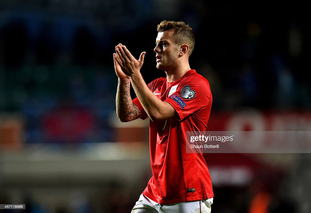 Jack Wilshere of England applauds the travelling fans following his team's 1-0 victory during the EURO 2016 Qualifier match between Estonia and England at A. Le Coq Arena on October 12, 2014 in Tallinn, Estonia.