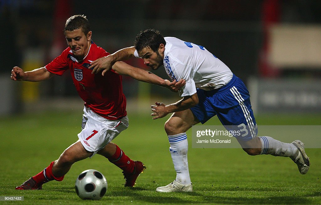 Jack Wilshere of England battles with Michail Boukouvalas of Greece during the UEFA U21 Championship match between Greece and England at the Asteras Tripolis Stadium on September 8, 2009 in Tripolis, Greece.