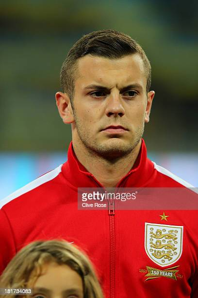 Jack Wilshere of England looks on prior to the FIFA 2014 World Cup qualifying match between Ukraine and England at the Olympic Stadium on September...