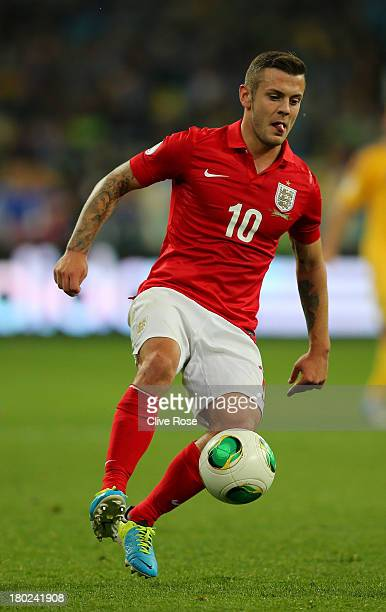 Jack Wilshere of England runs with the ball during the FIFA 2014 World Cup Qualifying Group H match between Ukraine and England at the Olympic...