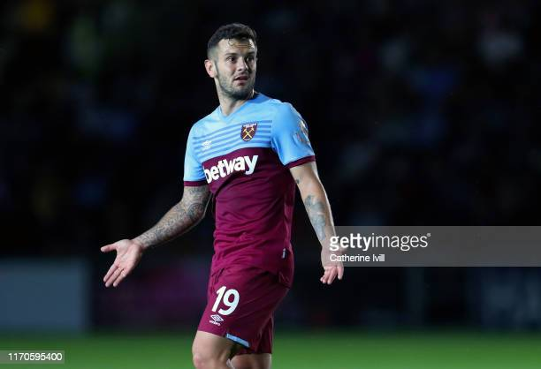 Jack Wilshere of West Ham United during the Carabao Cup Second Round match between Newport County and West Ham United at Rodney Parade on August 27,...