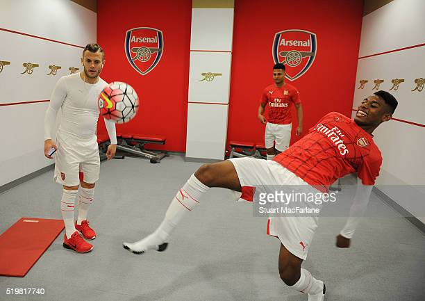 Jack Wilshere Serge Gnabry and Jeff ReineAdelaide warm up in the Arsenal changing room before the U21 Premier League match between Arsenal and...