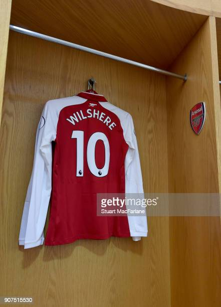 Jack Wilshere's Arsenal shirt hangs in the home changing room before the Premier League match between Arsenal and Crystal Palace at Emirates Stadium...