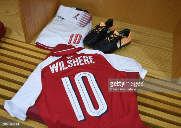 Jack Wilshere's kit in the Arsenal changing room before the Carabao Cup Third Round match between Arsenal and Doncaster Rovers at Emirates Stadium on...