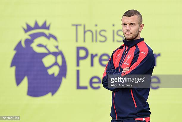 Jack Wilshire of Arsenal looks on during the Official Premier League Season Launch Media Event held at Market Road pitches on August 10 2016 in...