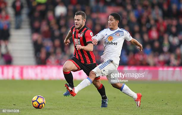 Jack Wilshire of Bournemouth and Steven Pienaar of Sunderland during the Premier League match between AFC Bournemouth and Sunderland at Vitality...