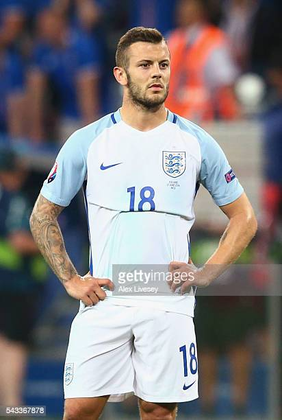 Jack Wilshire of England reacts during the UEFA EURO 2016 round of 16 match between England and Iceland at Allianz Riviera Stadium on June 27 2016 in...