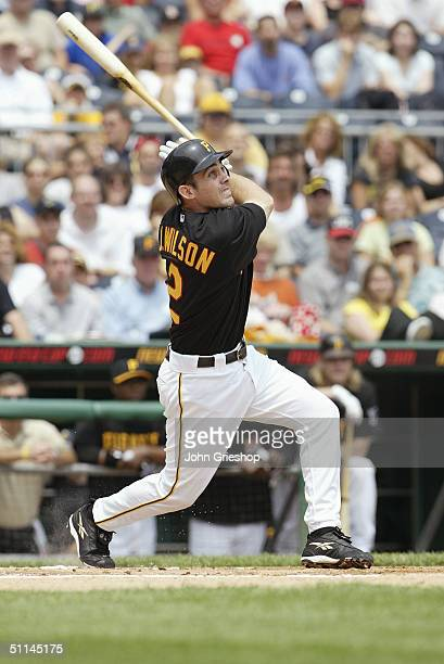Jack Wilson of the Pittsburgh Pirates bats during the game against the Florida Marlins at PNC Park on July 18 2004 in Pittsburgh Pennsylvania The...