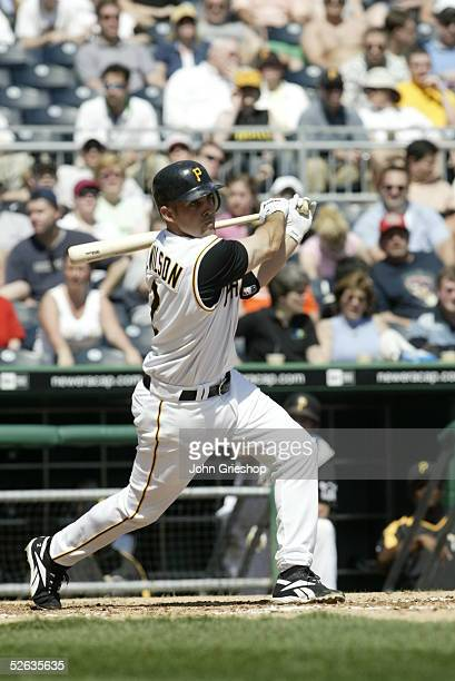 Jack Wilson of the Pittsburgh Pirates bats during the MLB game at PNC Park on April 6 2005 in Pittsburgh Pennsylvania The Brewers defeated the...