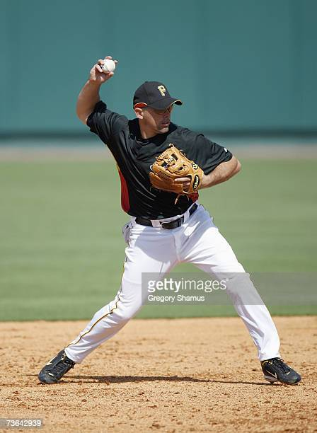 Jack Wilson of the Pittsburgh Pirates fields the ball during a Spring Training game against the Tampa Bay Devil Rays on March 8, 2007 at McKechnie...