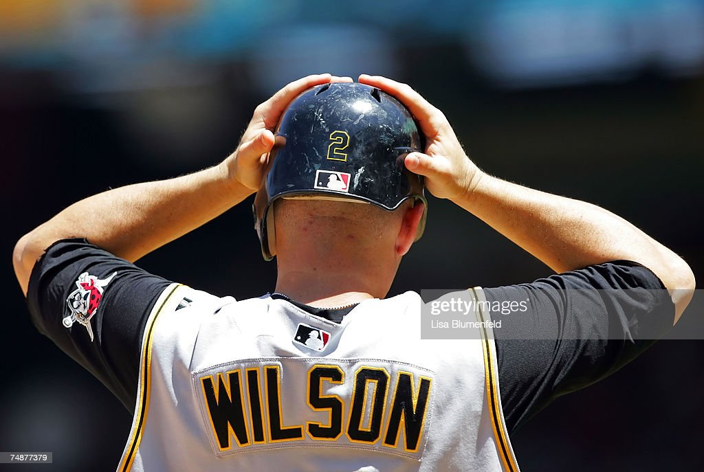 Jack Wilson #2 of the Pittsburgh Pirates reacts during the game against the Los Angeles Angels of Anaheim at Angels Stadium June 24, 2007 in Anaheim, California.