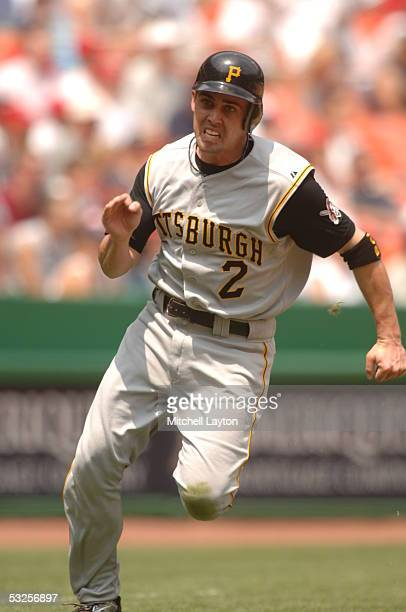 Jack Wilson of the Pittsburgh Pirates runs to home on a play in a game against the Washington Nationals on June 30 2005 at RFK Stadium in Washington...